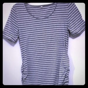 Gray and White Striped T-shirt Dress Small